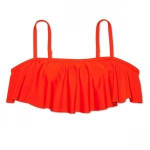 NWT Xhilaration Bandeau Flounce Bikini Top 20W Red